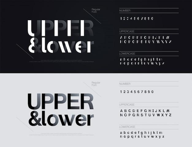 Eenvoudige minimale lettertypen met schaduwpapier snijstijl