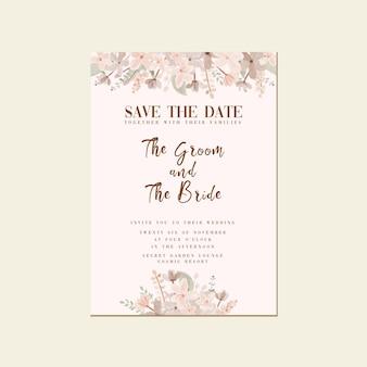 Eenvoudige minimalistische aquarel bloem bruiloft bewaar de sjabloon voor de datumuitnodiging