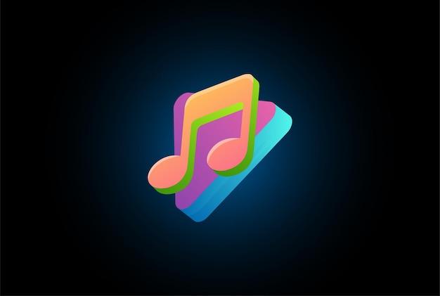 Eenvoudige minimalistische moderne kleurrijke 3d-notitie en afspeelknop voor muziek logo design vector