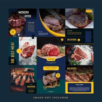 Eenvoudige minimalistische steak vlees eten social media postsjabloon set bundel