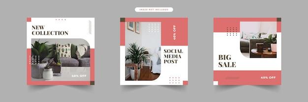 Eenvoudige moderne platte social media postsjablonen