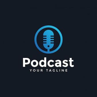 Eenvoudige moderne podcast logo ontwerpsjabloon