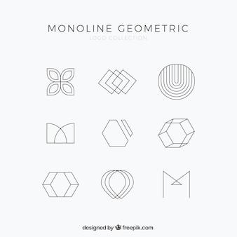 Eenvoudige monoline-logo set
