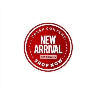 Eenvoudige nieuwe aankomst logo tekst ronde sticker