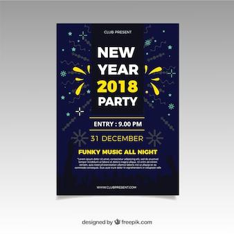 Eenvoudige nieuwe jaarfeest folder met gele elementen