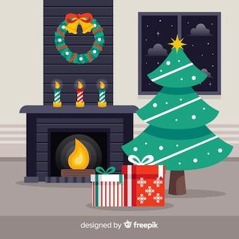 Eenvoudige open haard kerstmis achtergrond