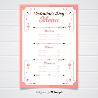 Eenvoudige ornamenten valentijn menusjabloon