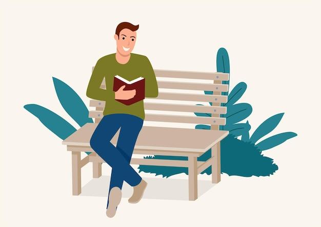 Eenvoudige platte vectorillustratie van een man zittend op een houten bankje terwijl geconcentreerd een boek lezen