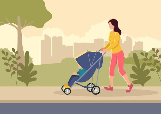 Eenvoudige platte vectorillustratie van een moeder met haar kind op de wandelwagen wandelingen in het stadspark