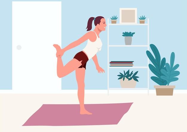 Eenvoudige platte vectorillustratie van een vrouw die thuis uitrekkende oefening doet
