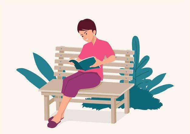 Eenvoudige platte vectorillustratie van een vrouw zittend op een houten bankje terwijl geconcentreerd het lezen van een boek