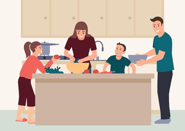 Eenvoudige platte vectorillustratie van gelukkige familie plezier samen koken thuis