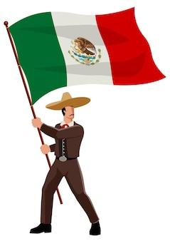 Eenvoudige platte vectorillustratie van mexicaanse man in sombrero en traditionele klederdracht met de vlag van mexico