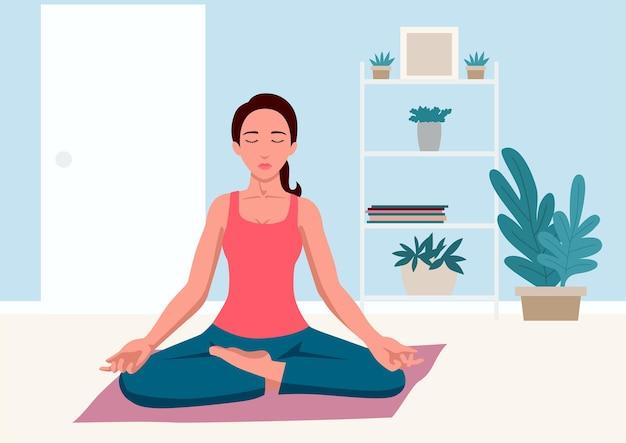 Eenvoudige platte vectorillustratie van vrouw thuis yoga doen