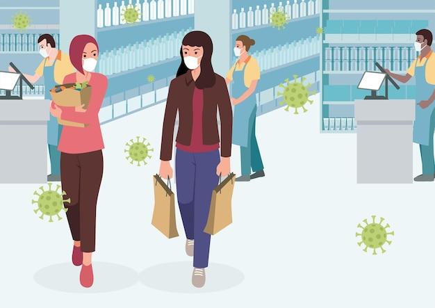 Eenvoudige platte vectorillustratie van vrouwen in de supermarkt medische masker dragen tijdens pandemie
