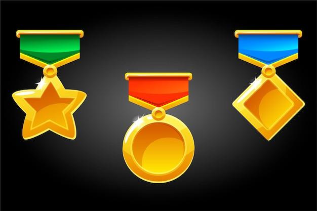 Eenvoudige prijzen en medaille-sjablonen voor winnaars Premium Vector