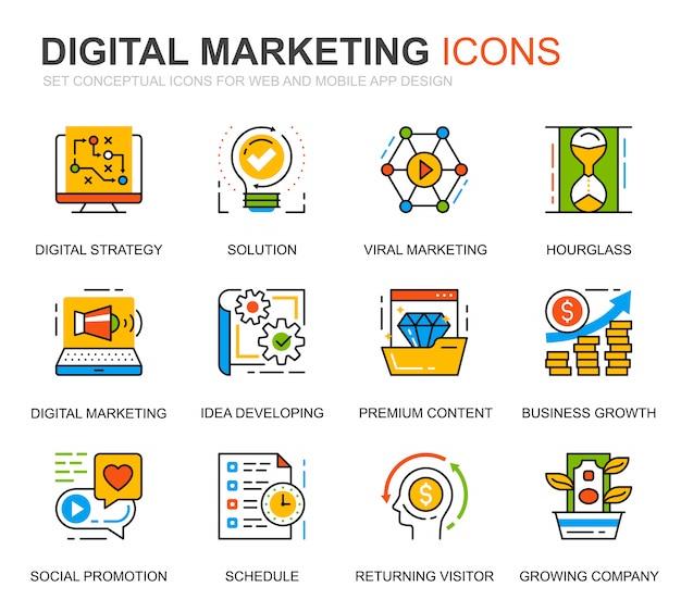 Eenvoudige reeks bedrijfs en marketing lijnpictogrammen voor website