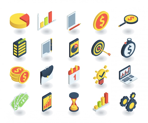 Eenvoudige reeks bedrijfspictogrammen in vlakke isometrische 3d stijl. bevat pictogrammen zoals cirkeldiagram, zoeken naar investeringen, tijd is geld, teamwork en meer.