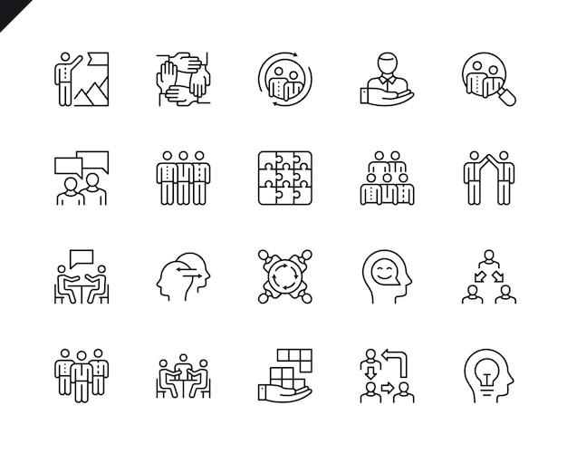 Eenvoudige reeks groepswerk verwante vectorlijnpictogrammen.