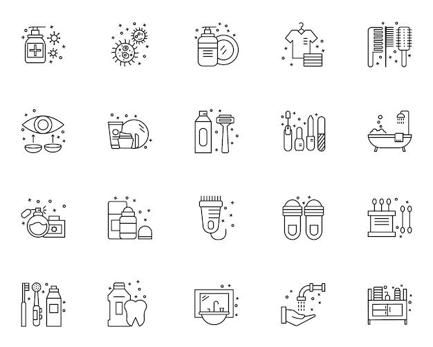 Eenvoudige reeks hygiëne-elementen gerelateerde pictogrammen in lijnstijl