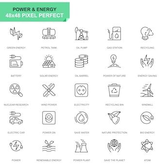 Eenvoudige reeks machtsindustrie en energie lijn pictogrammen