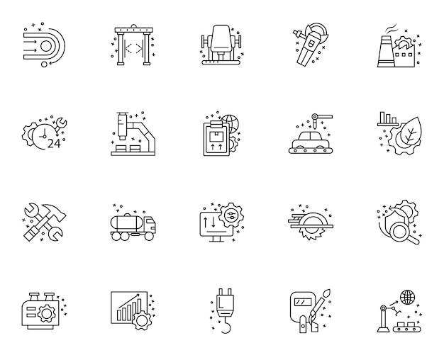 Eenvoudige reeks productie-elementen gerelateerde pictogrammen in lijnstijl
