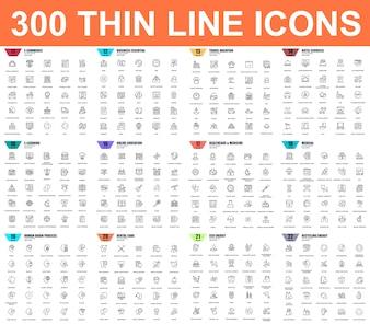 Eenvoudige reeks vector dunne lijnpictogrammen