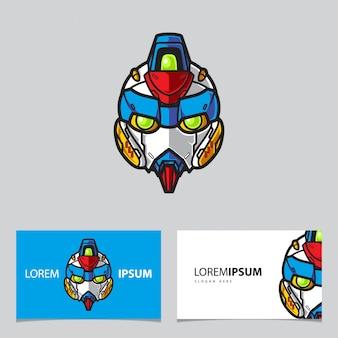 Eenvoudige robot mascotte logo naam kaartsjabloon