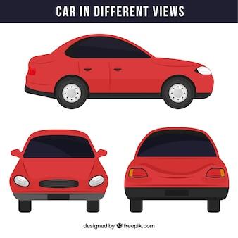 Eenvoudige rode auto in verschillende standpunten
