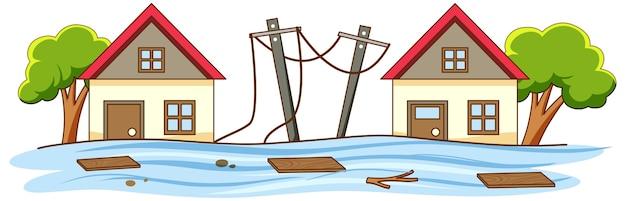 Eenvoudige scène van overstroming in de stad
