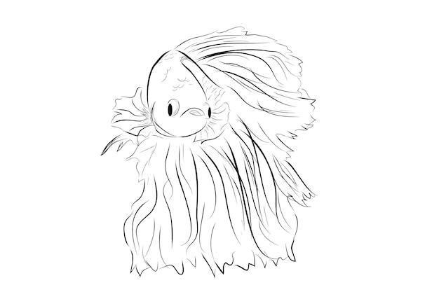 Eenvoudige schets vector betta of siamese kempvissen giant halve maan op whitebackground