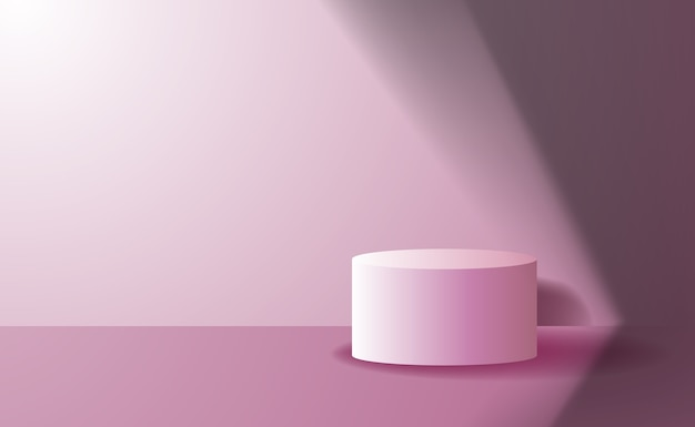 Eenvoudige schone elegante cilinder podium voetstuk podium product display voor promotie banner met roze kleur en mooi licht en schaduw