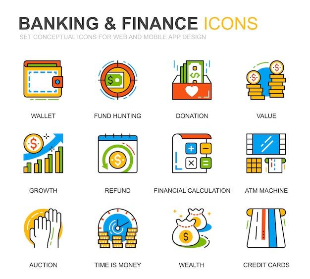 Eenvoudige set bank- en financiën lijn pictogrammen voor website