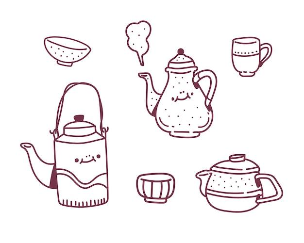 Eenvoudige set doodle stijl. kopje thee tekenstijl