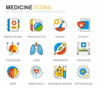 Eenvoudige Set Gezondheidszorg en Geneeskunde Lijn Pictogrammen voor Website