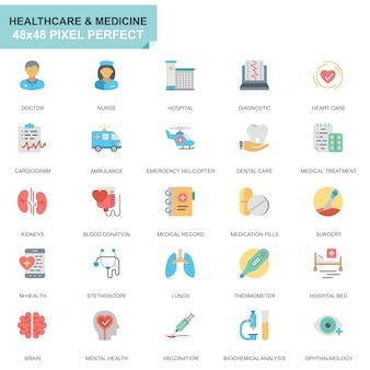 Eenvoudige set gezondheidszorg en geneeskunde plat pictogrammen