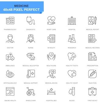 Eenvoudige set gezondheidszorg en medische lijn pictogrammen