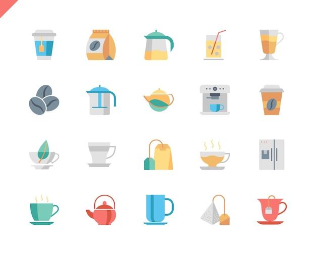 Eenvoudige set koffie en thee plat pictogrammen