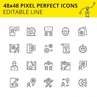 Eenvoudige set pictogrammen voor engineeringprocessen, evenals ontwerp en analyse, inclusief pictogrammen voor technische tekeningen en constructietekeningen. pixel perfect pictogram, lijn.