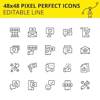 Eenvoudige set pictogrammen voor feedbackstromen in marketing en sociale netwerken. pixel perfect pictogram, lijn. .