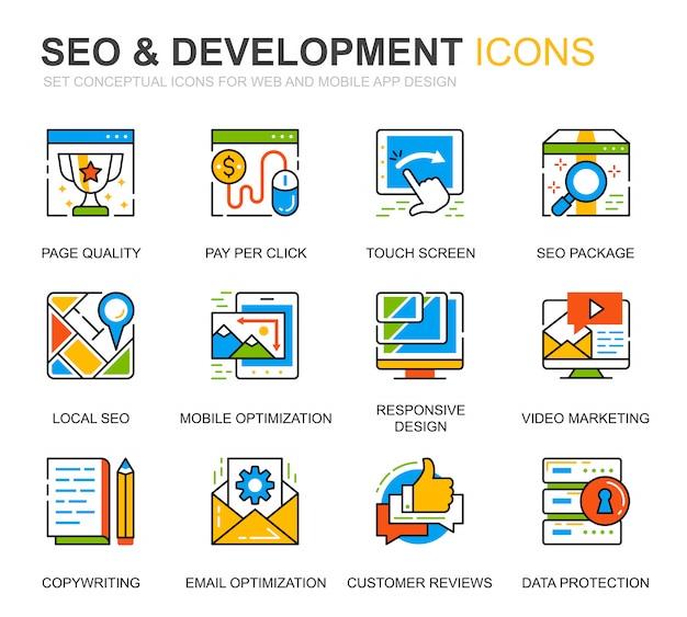 Eenvoudige set seo en ontwikkelingslijn pictogrammen voor website