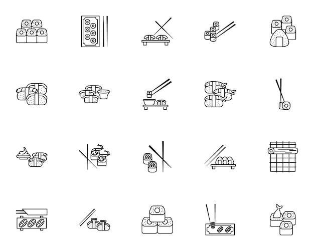 Eenvoudige set sushi gerelateerde pictogrammen in lijnstijl