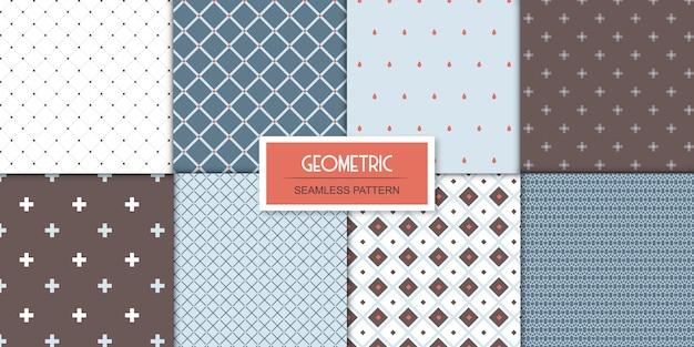 Eenvoudige set van acht naadloze geometrische patronen