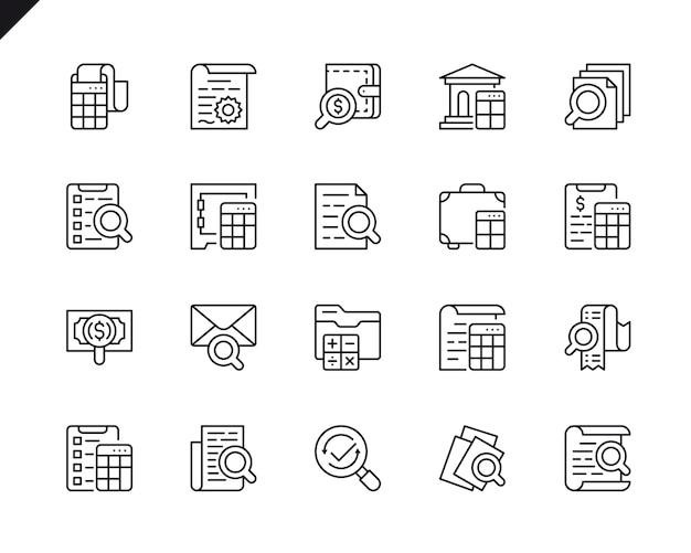 Eenvoudige set van boekhoudkundige verwante vector lijn pictogrammen.