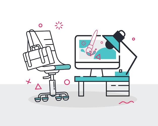 Eenvoudige set van bureaustoel bureau en computer vector lijn pictogrammen illustratie