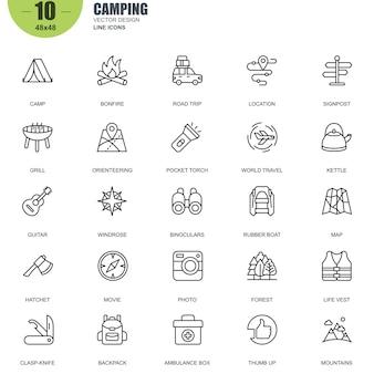 Eenvoudige set van camping gerelateerde vector lijn iconen