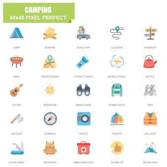 Eenvoudige set van camping gerelateerde vector plat pictogrammen Premium Vector