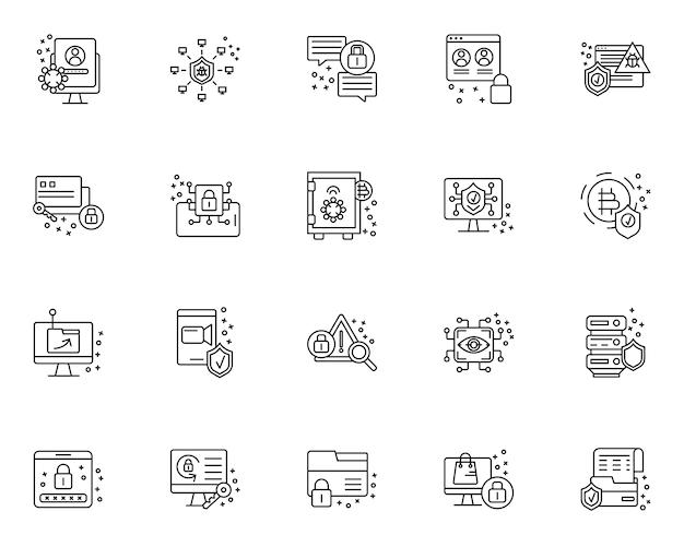 Eenvoudige set van cyberbeveiliging gerelateerde pictogrammen in lijnstijl