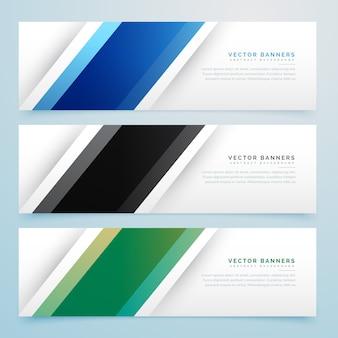 Eenvoudige set van drie kleuren banner headers