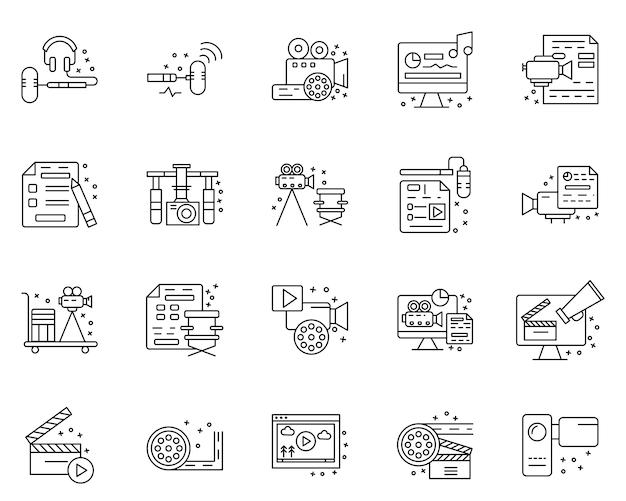 Eenvoudige set van filmindustrie gerelateerde pictogrammen in lijnstijl